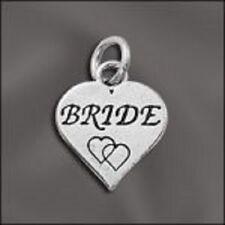 Sterling Silver Bride Heart Charm .925 Wedding Love Marriage Symbol Pendant