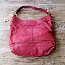 NWT Lucky Brand Red Cowhide Leather Hobo Hand Purse Shoulder Bag Single Strap