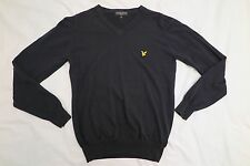 LYLE & SCOTT - V-Neck Jumper - Cotton - BLACK - Size: Small SLIM FIT