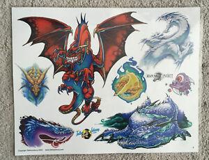 """Tattoo Flash Single Sheet Print by Adam Puckett 2003 Dragons, Fire, 11""""X14"""""""