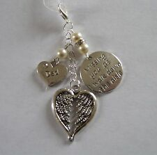 Ivory Dad Angel Wing Memorial Bouquet Charm Made With Swarovski Beads