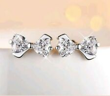 Crystal bow on silver stud toned earrings JoMacDesigns