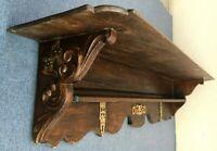 Large antique french black forest 19th century shelf hanger woodwork bronze 15lb