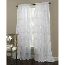 """Two (2) Gypsy Ruffled Sheer Curtain Panels, White, 60"""" wide by 63"""" long"""