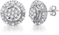 1.00 CTTW Diamond Round Frame Stud Earrings in Sterling Silver By DeCarat
