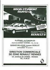 Publicité ancienne voiture Renault 11  1983 issue de magazine