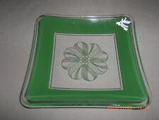 Retro A.H. Dorman Danish Art Glass Green Enamel Square Dish With Original Label