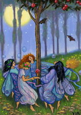 Fairies dancing around tree moon bats forest fantasy OE ACEO print art