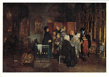 1958 RARE Russian postcard People in church BEFORE CONFESSION by A.Korzukhin