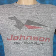 vtg 80s RAYON TRI-BLEND JOHNSON OUTBOARD MOTOR DISTRESSED THIN T-Shirt XS/S boat