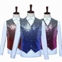 Men Sequin Waistcoat Glitter Vest Top Party Night Club Stage Dress Costume Shiny