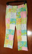 Vtg 90s Lilly Pulitzer Iconic Palm Beach Color Patch Animal Print Pants  0-P
