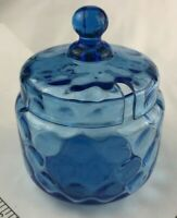Condiment Vintage Antique Depression coin dot? Blue Glass Jelly Jam