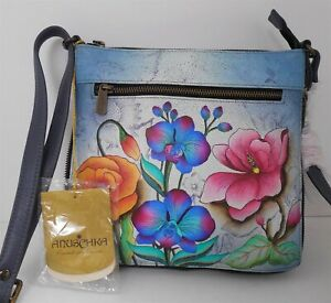New Anuschka Hand Painted Floral Crossbody Shoulder Bag