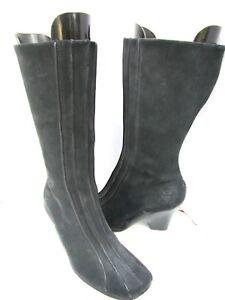 Timberland Black Suede Full Zip Knee Hi Boots Wedge Heel 8.5 EXC