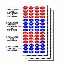 Socket Labels for Sockets & Tools Decal Stickers 3 Pack For Tool Box Drawers M33
