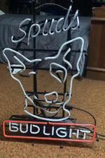 Vtg 1987 Bud Light Beer Spuds Mackenzie Bull Terrier Real Neon Lighted Sign