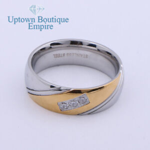Men's Stainless Steel Two Tone CZ Micro Paved Engagement Ring Band Size 8-13 *GC