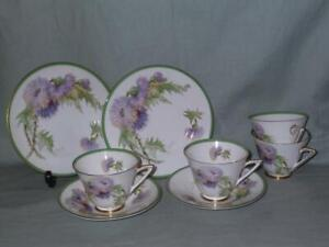 Royal Doulton Glamis Thistle 4 Tea Cups, 2 Saucers & 2 Side Plate A/F