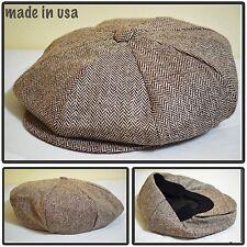 Made in USA brown8 panel herringbone applejack newsboy paperboy cabbie snap brim