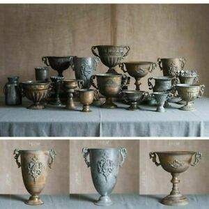 Vintage Old Wrought Iron Vase Flower Pot Home Furnishing Goblet Classical Decors