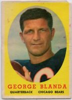 1958 Topps #129 George Blanda Low Grade Crease Chicago Bears FREE SHIPPING