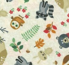 Fabric Baby Woodland Animals Foxes Owl Deer on Taupe Flannel by the 1/4 yard BIN