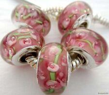 5PCS Silver Single Core Murano Lamp Glass Beads fit European Charm Bracelet A031