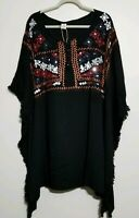 RIVIERA SUN Black EMBROIDERED Fringe Caftan/Kaftan Cover Up Rayon DRESS, Size 1X