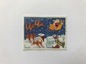 US Stamp Postage, #4712-15, Holiday Santa & Sleigh, Blk of 4 Forever Mint Hinged