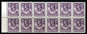 NORTHERN RHODESIA KG V 1925 4d. Giraffe & Elephant BLOCK OF TWELVE SG 6 MNH/MINT