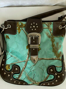 Crossbody Lady Bag Turquoise Canvas Satchel Studded Buckle Faux Leather Accent