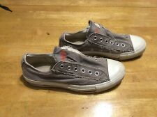 CONVERSE All Star Gray Canvas Orange Sneakers SHOES Slip-on Mens 5.5 Womens 7.5