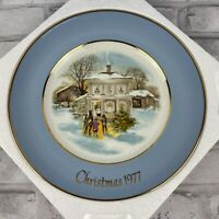 1977 Avon Christmas Plate Series Carollers in the Snow 5th Edition Wedgwood Blue