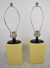 Table Lamps Pair 2 Porcelain Crackle Yellow Ceramic Minimalist