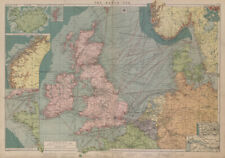 North Sea sea chart. Ports lighthouses mail routes. UK Norway &c LARGE 1916 map