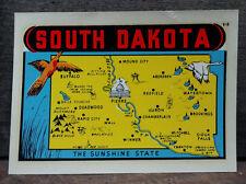 ORIGINAL VINTAGE TRAVEL DECAL SOUTH DAKOTA SUNSHINE STATE MAP FOWL BIRD AUTO OLD