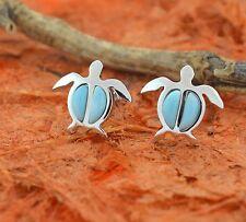 Larimar Turtle Stud Earrings-Sterling Silver-Sea Honu,Girl's Jewelry,Cute,Small