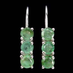 Unheated Round Emerald 4mm 14K White Gold Plate 925 Sterling Silver Earrings