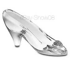 ELEGANT CINDERELLA GLASS SMALL SLIPPER PAVE CRYSTAL HEART FIGURINE DISNEY NEW