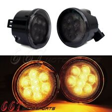 Front Amber LED Turn Signal Lights Front Grill for Jeep Wrangler JK 2007-2017