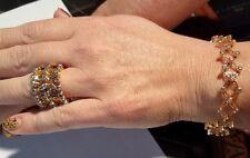 Unique Lady Ring 2 Bracelet Transform Rose  Gold Color Crystals Adjustable Size