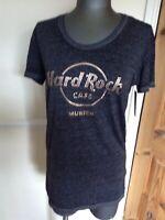 BNWT LADIES HARD ROCK CAFE MUNICH METALLIC LOGO BLACK T SHIRT SIZE LARGE €29.95