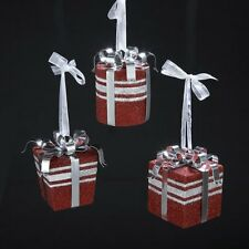 """Set of 3 Metal Red Silver CHRISTMAS PRESENT ORNAMENTS, 3.5"""" Tall, by Kurt Adler"""