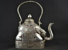antique excellent Handwork Miao Silver Carve Elephant Lucky Big Tea Pot Teapots