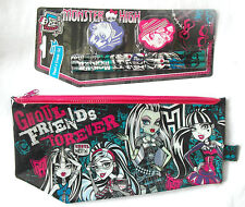 MONSTER HIGH Stationery Set - Pencils Erasers + Large Flat Plastic Pencil Case
