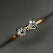 Fashion Crystal Rhinestone 18K Gold Plated Finger Bow Wedding Engagement Ring