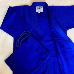 BJJ Gi BLUE Premium Quality PLAIN Stitch Brazilian Jiu Jitsu Pearl Weave