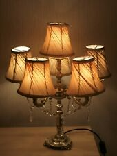 6 Arm Beautiful Vintage Brass Lamp With Real Lustres
