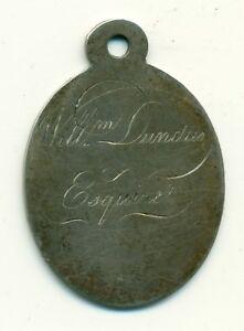 Street Book Seller's Badge Edinburgh Scotland C. 1800 Sterling Silver